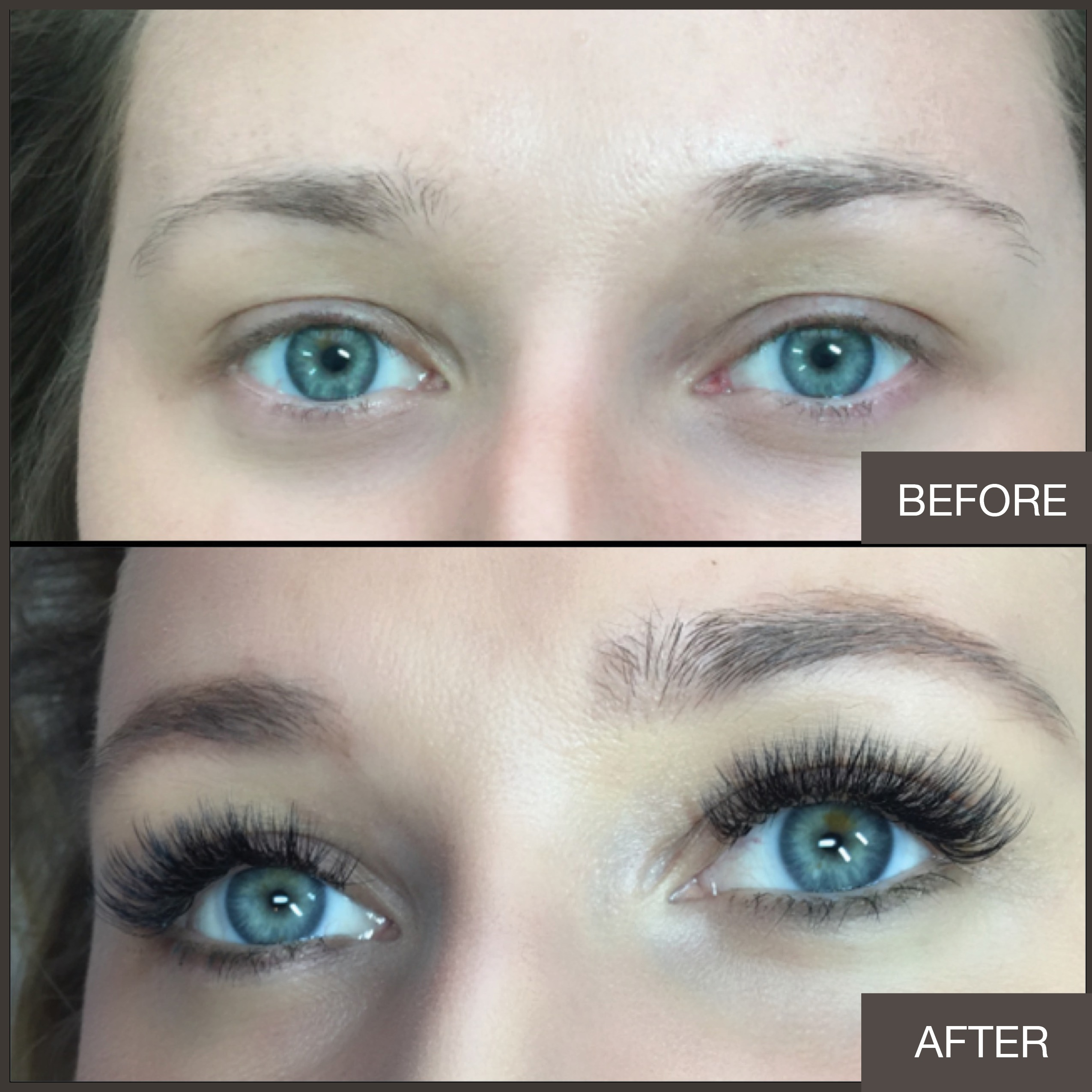 Before and after american volume Lashes by Lindsey Rae Joslyn-Rohner
