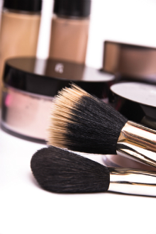 Foundation and make-up brushes stock