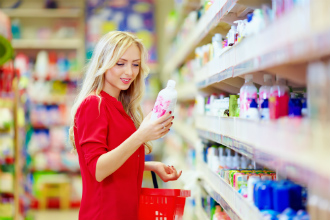 Woman shopping grey market products stock pic