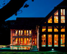 Night exterior of the spa at Bailiffscourt Hotel